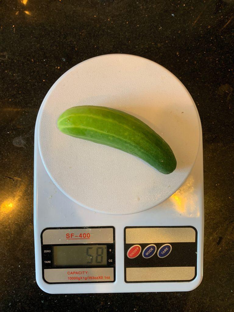 вес огурца среднего размера
