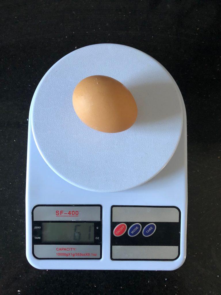 вес сырого яйца