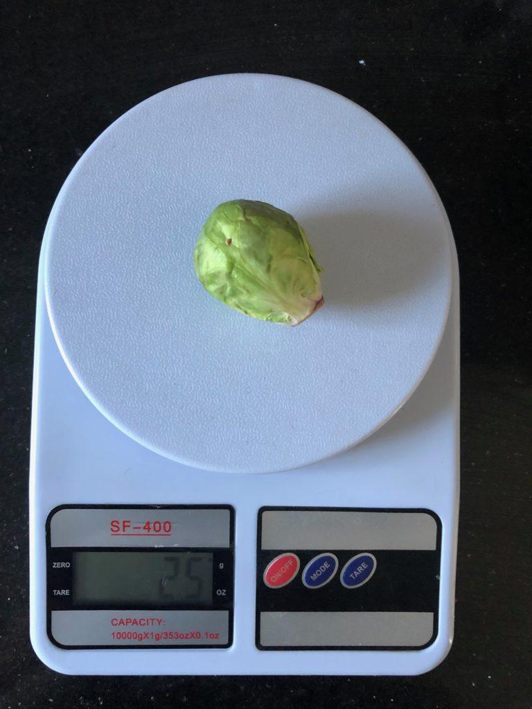 вес брюссельской капусты