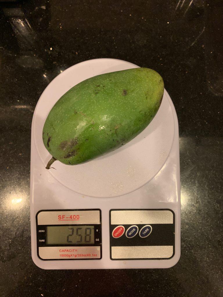 вес зеленого манго