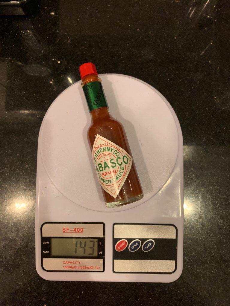 вес бутылки соуса Табаско