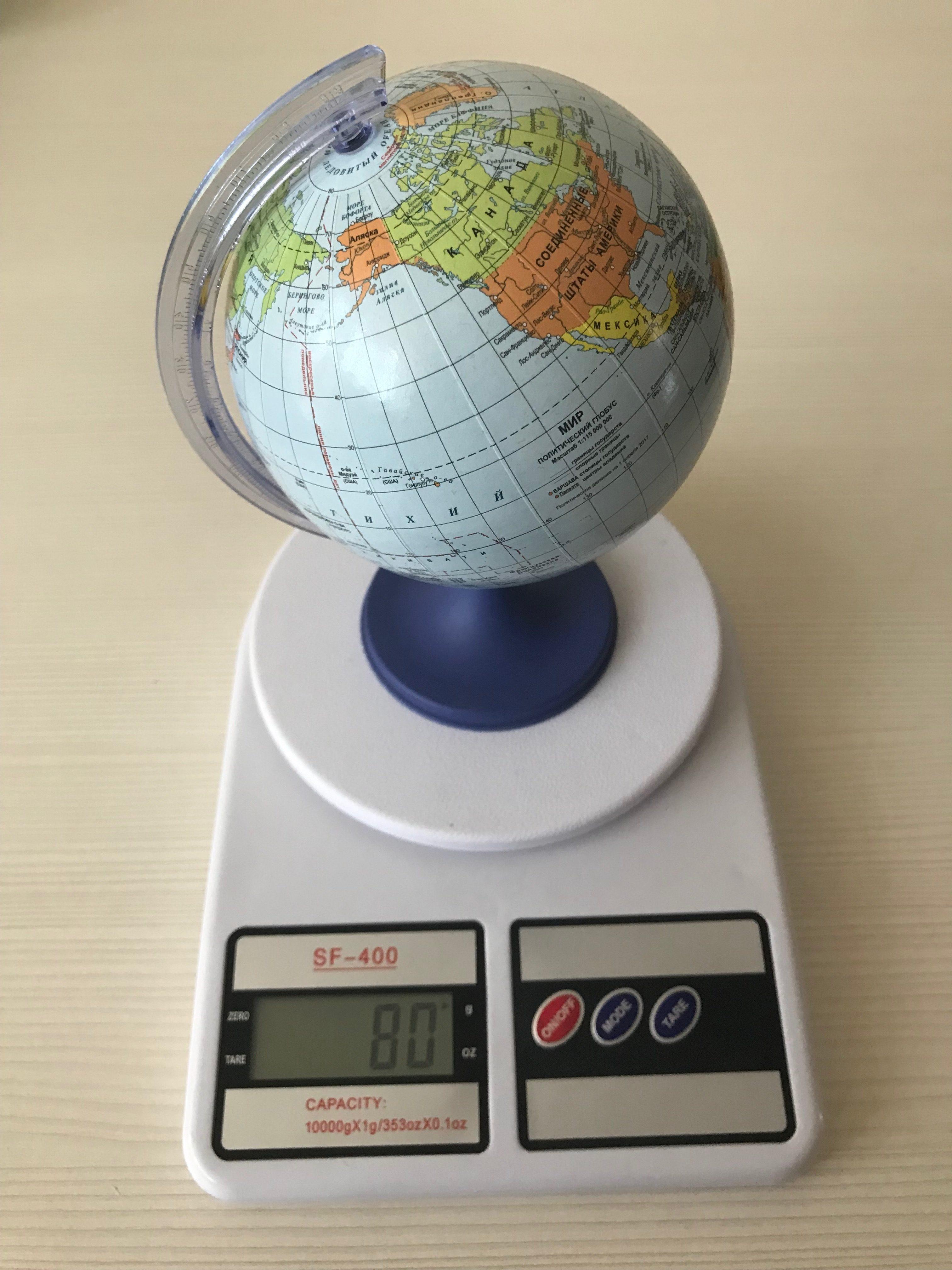вес глобуса (пластиковый, среднего размера)