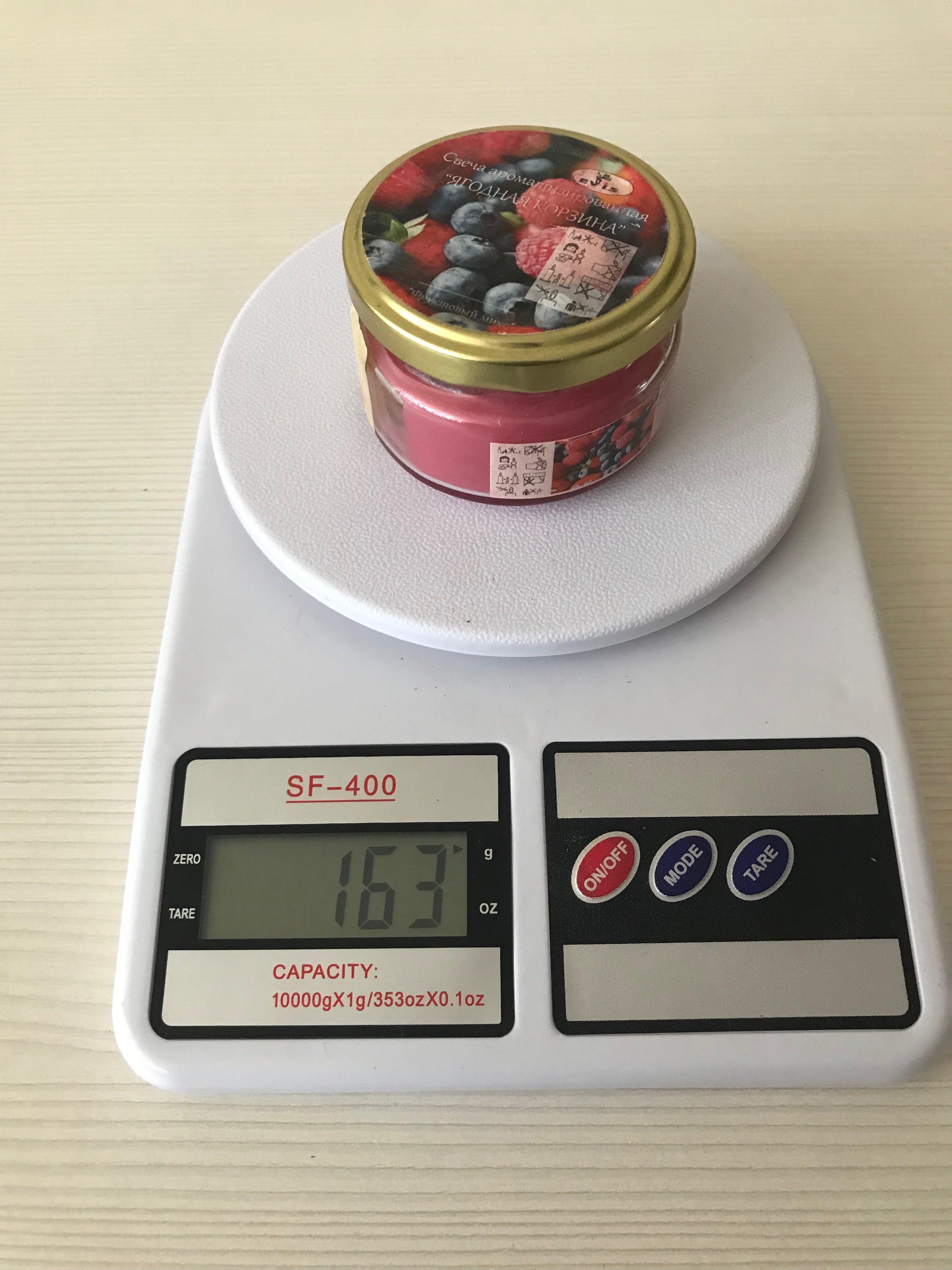 вес ароматизированной свечи