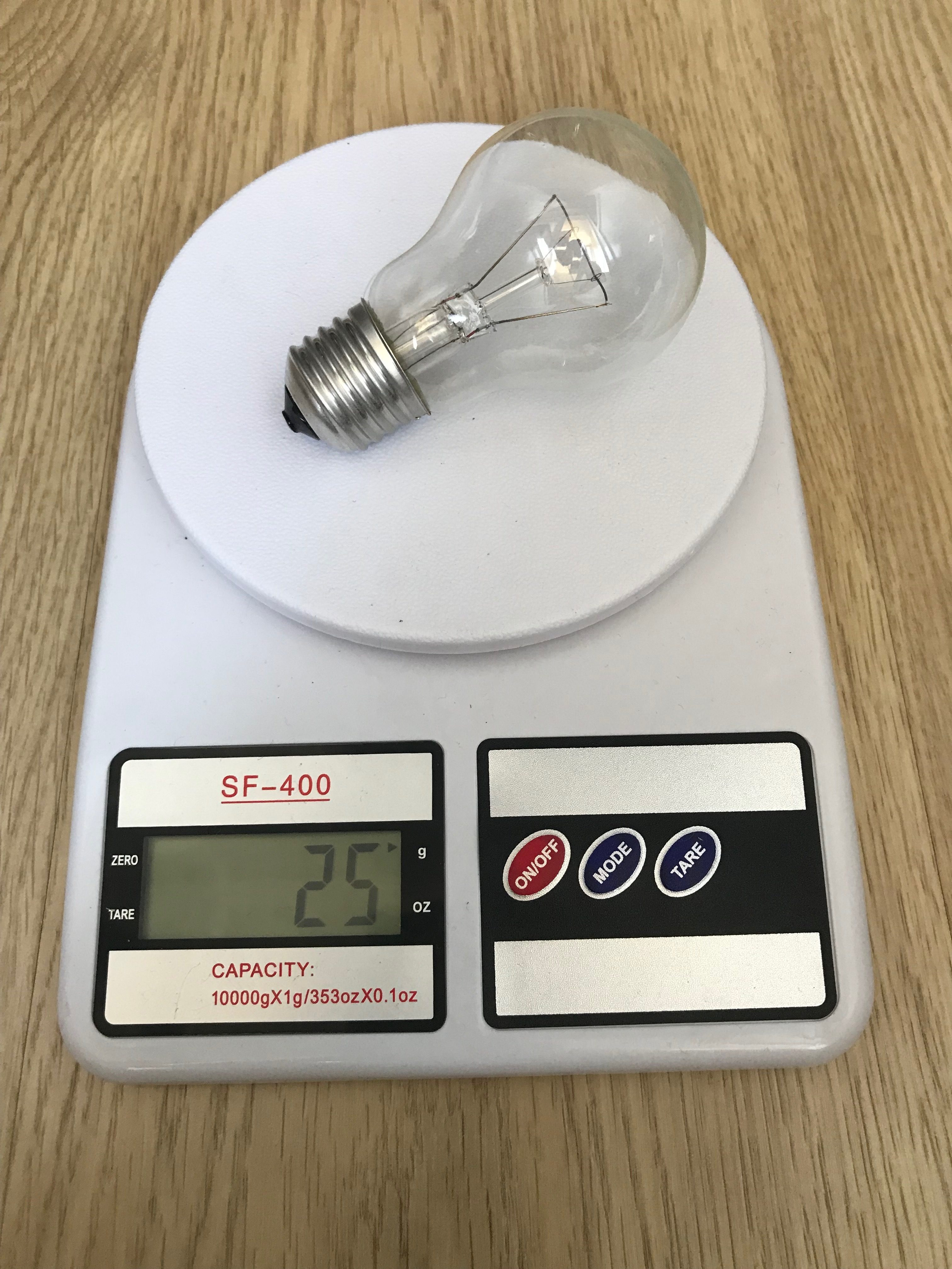 вес лампочки накаливания