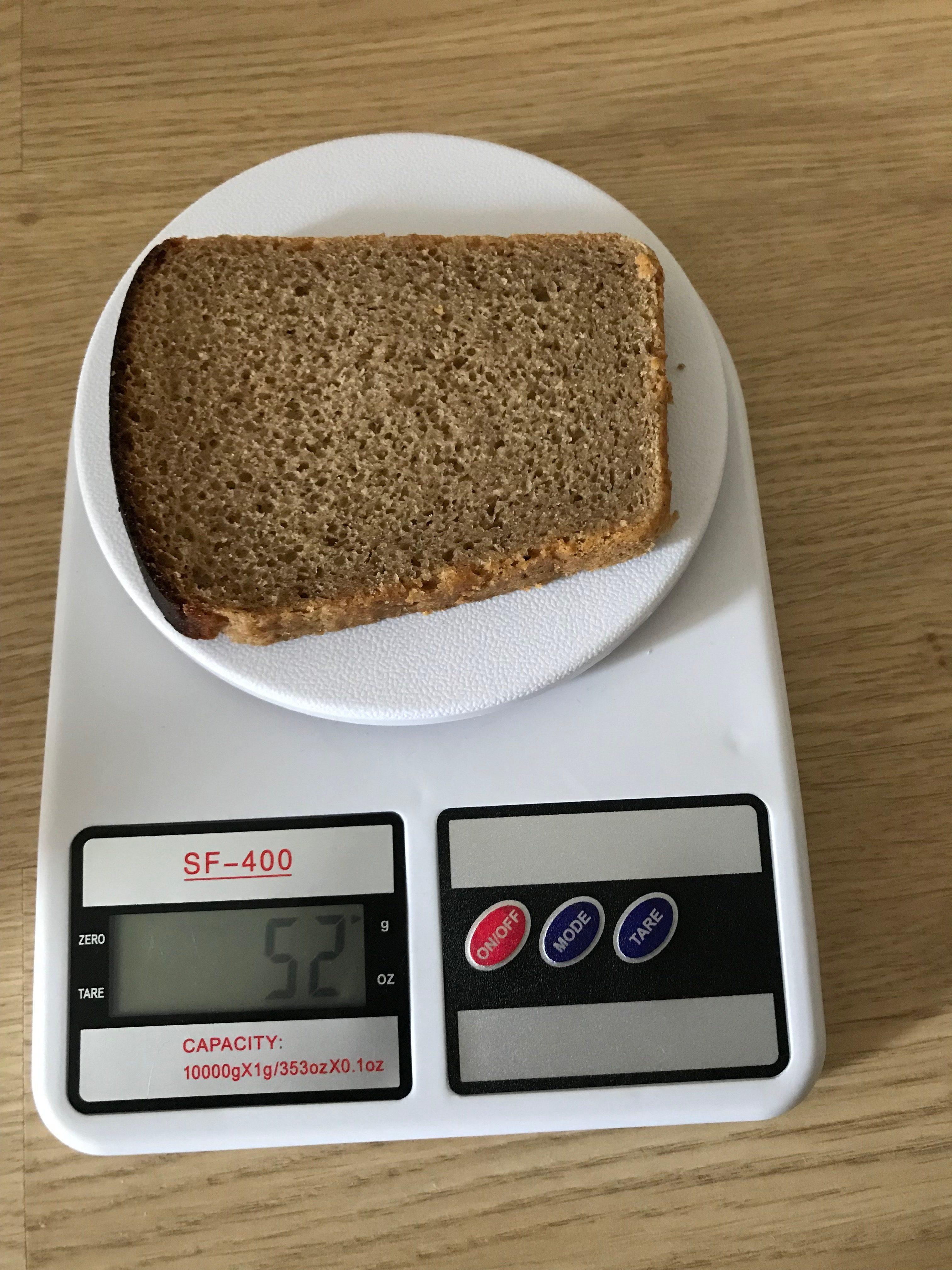 вес кусочка черного хлеба