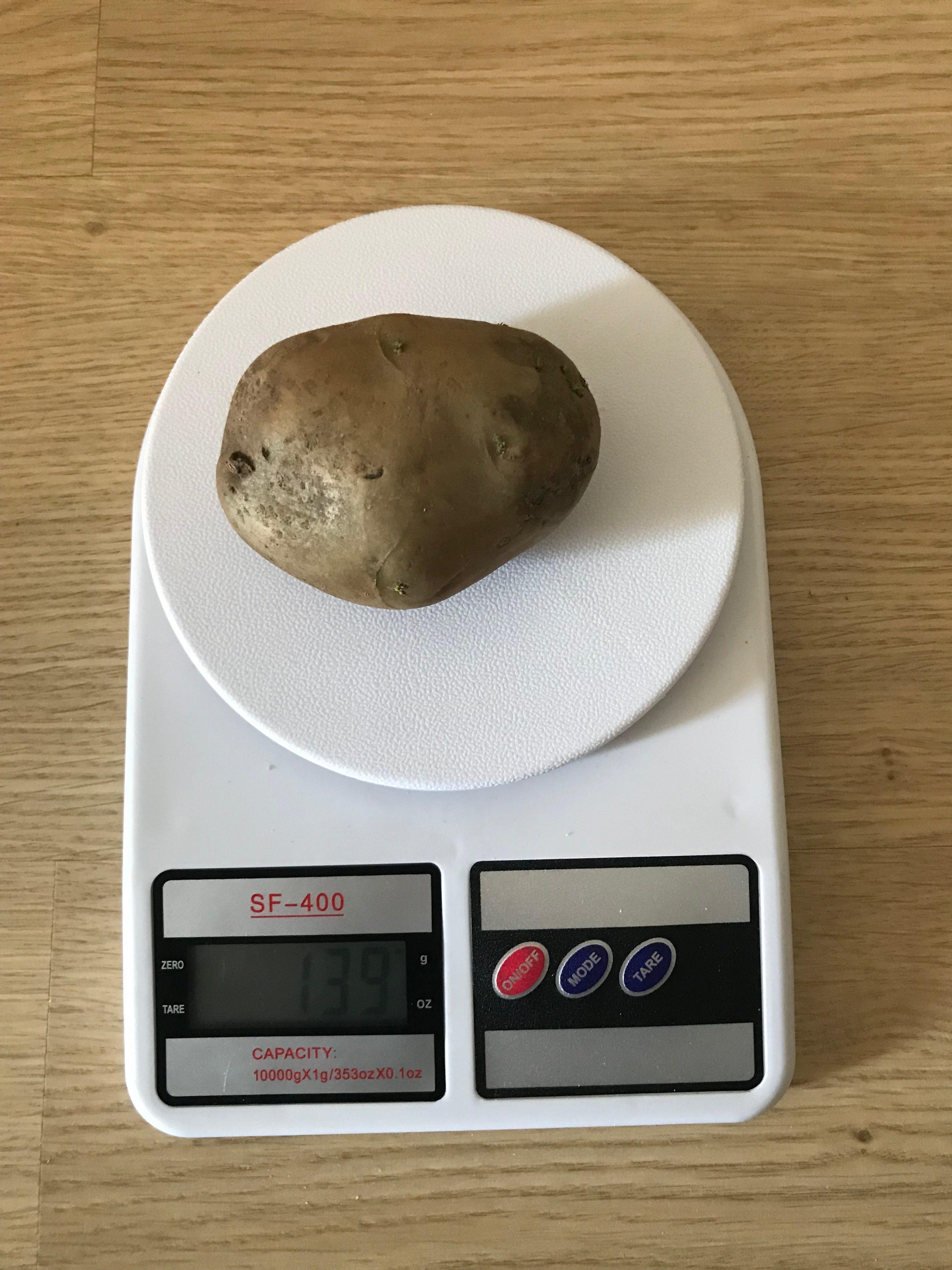 вес 1 среднего картофеля