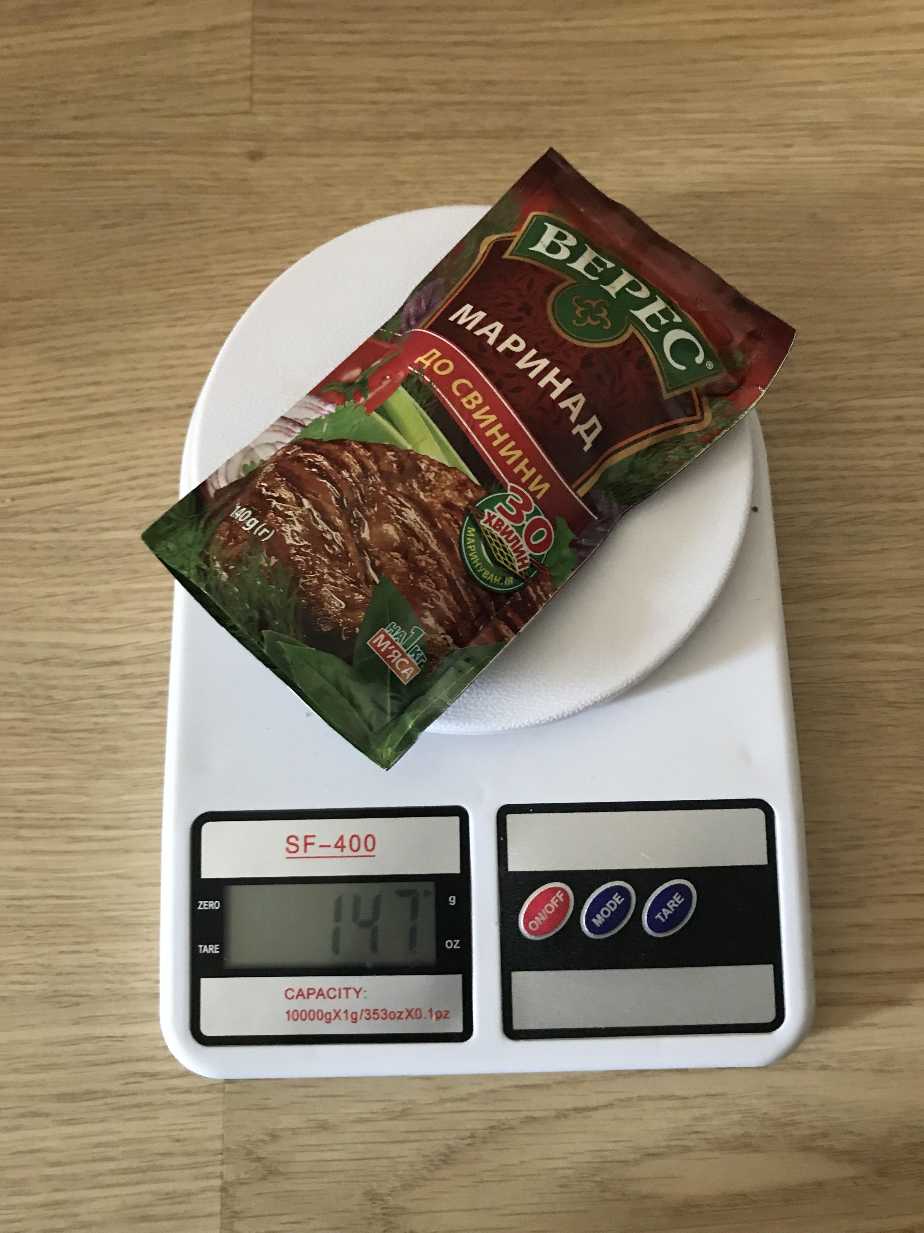 вес маринада для свинины