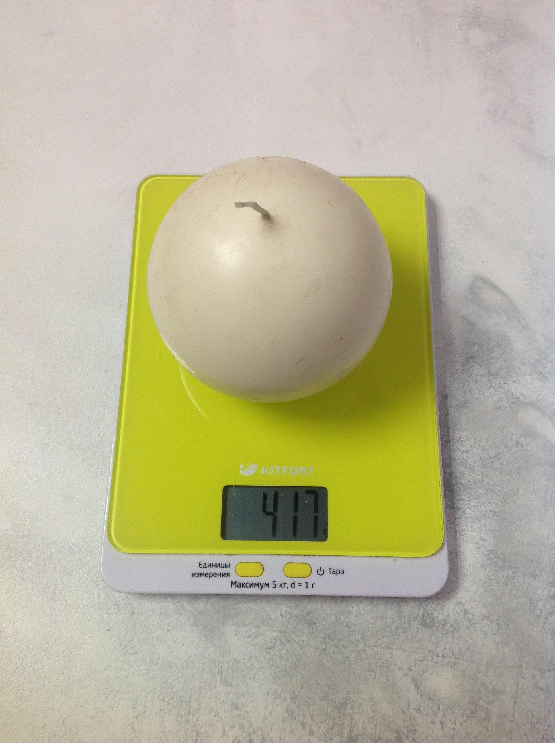 вес свечи круглой большой
