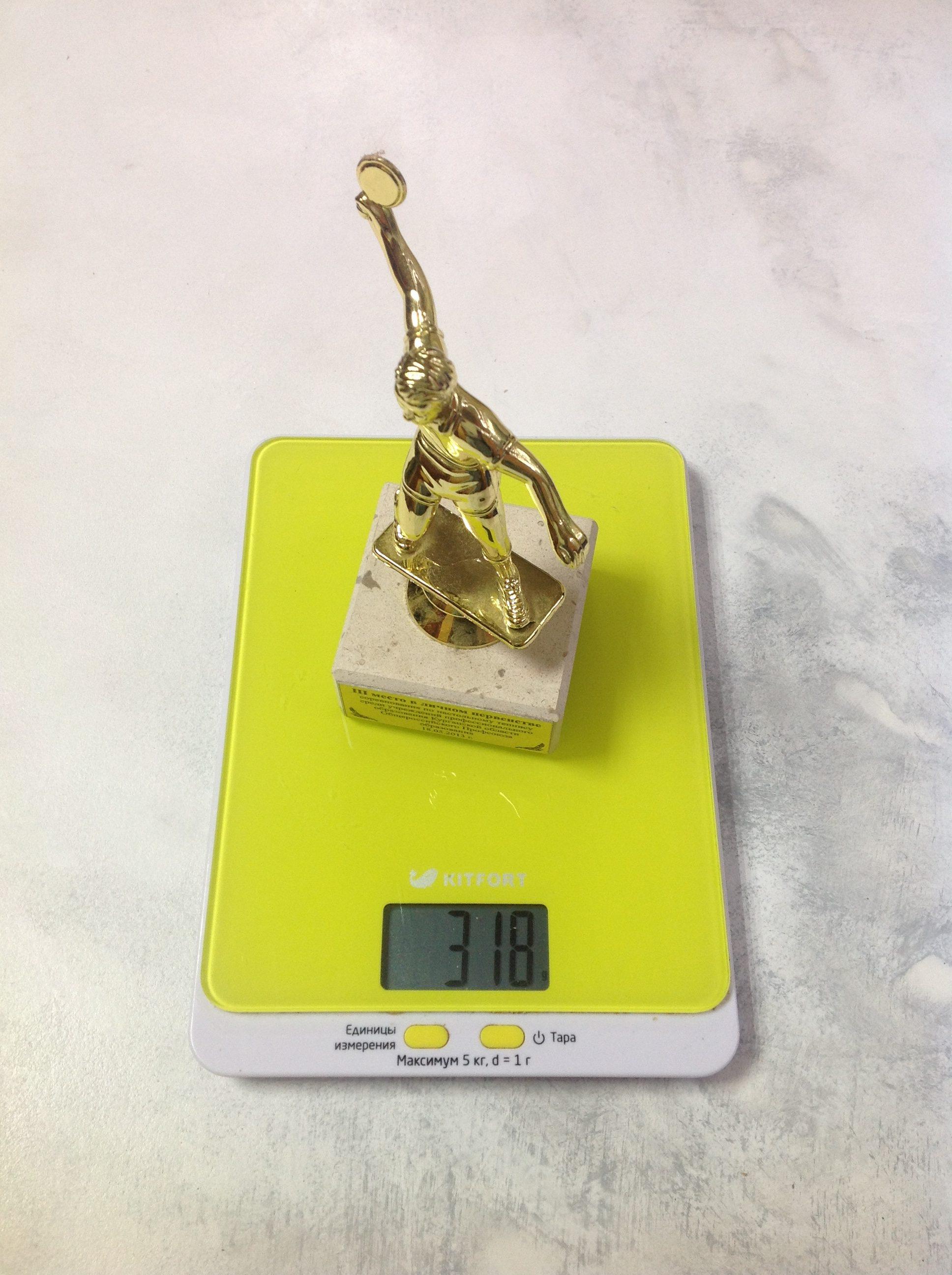 вес наградной статуэтки средней
