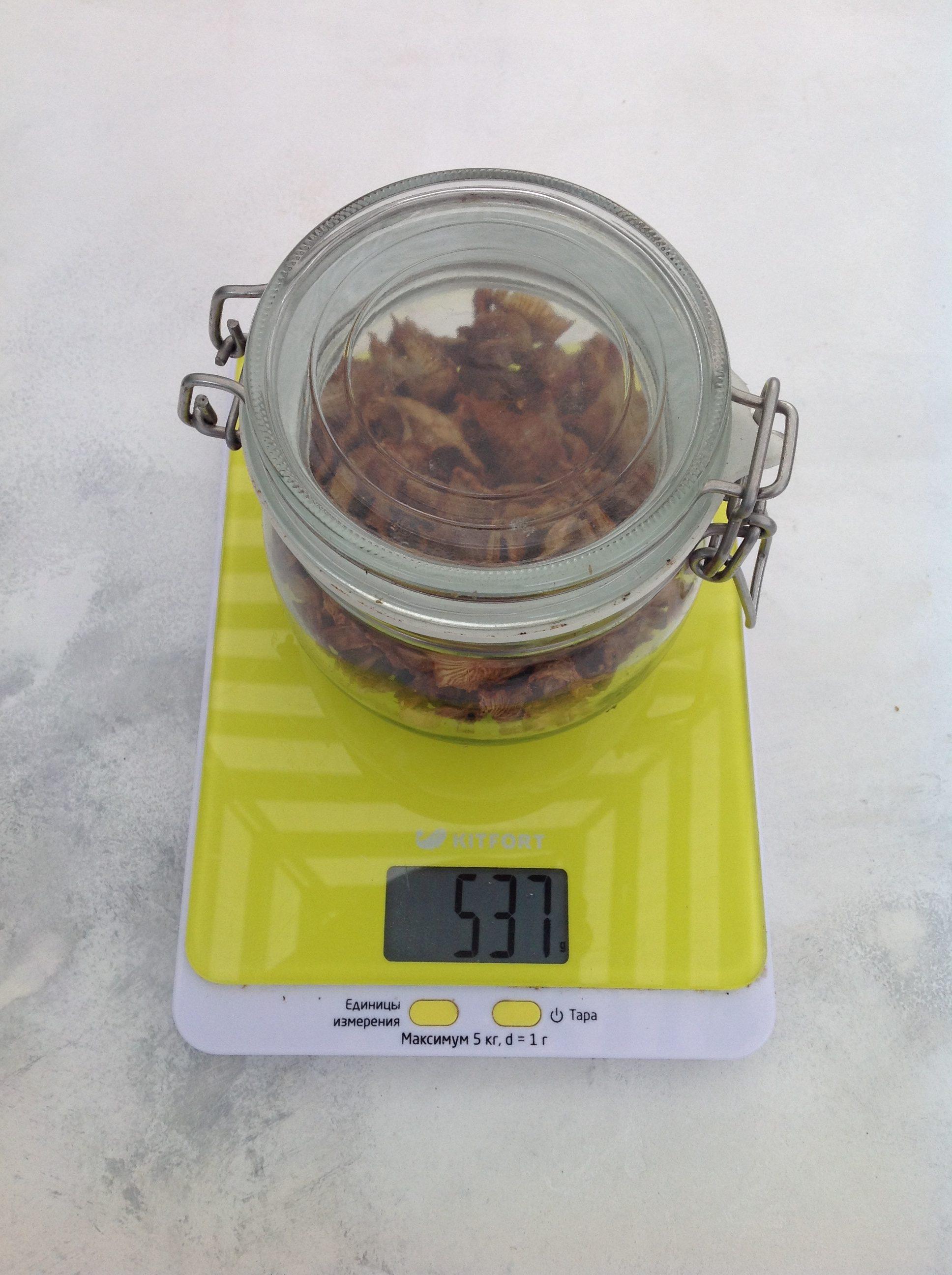 вес сушеных грибов в стеклянной банке