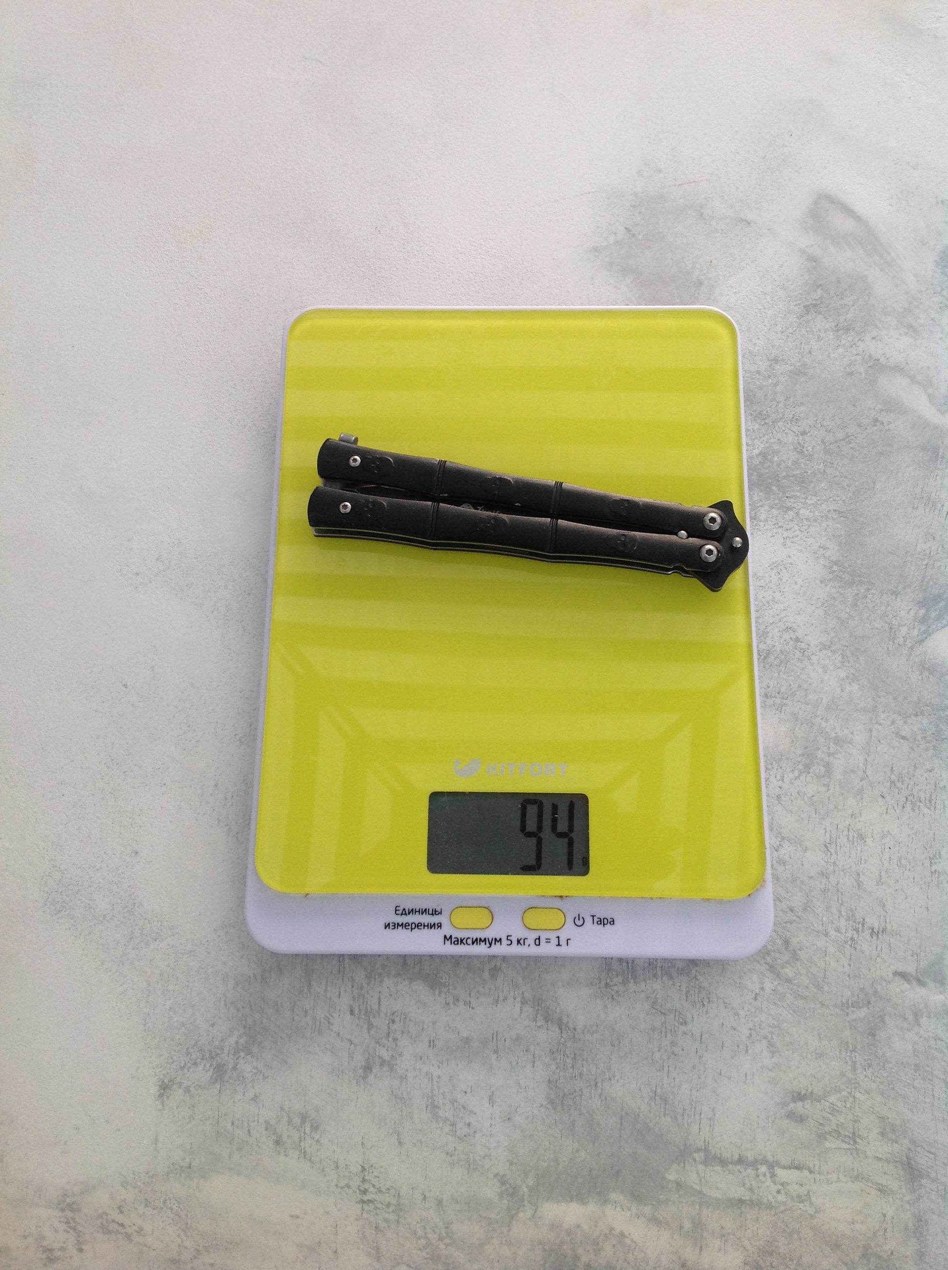 вес складного ножа бабочка
