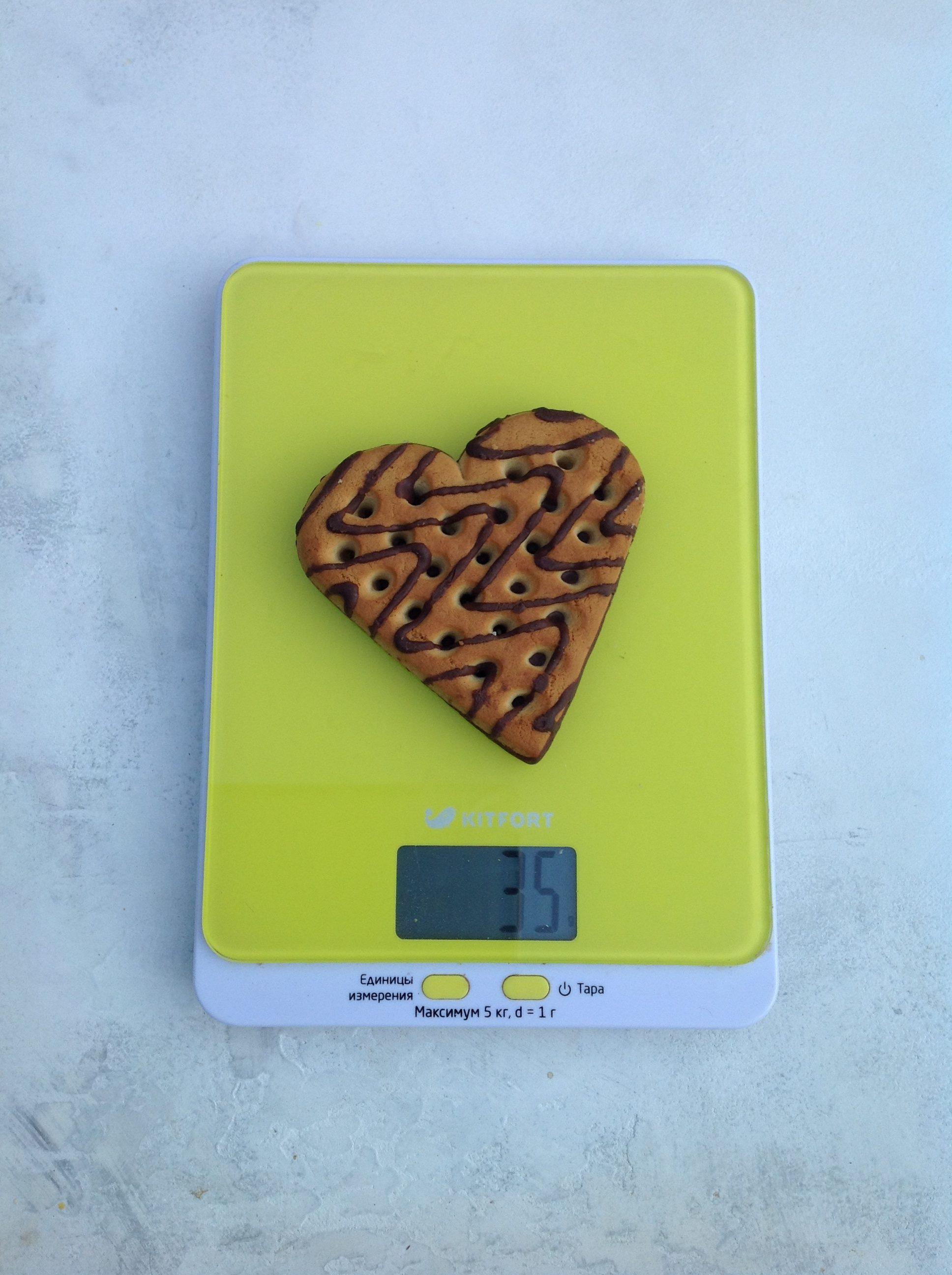 вес печенья сердце в шоколаде