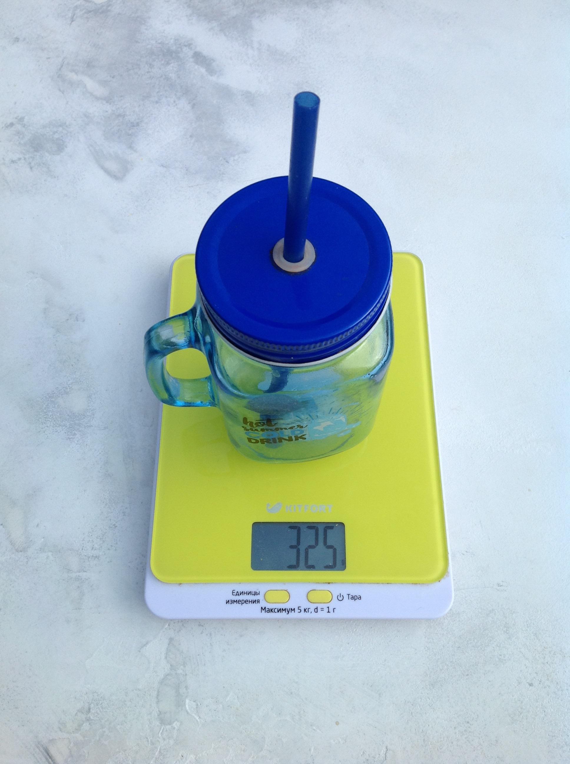вес стеклянной банки для напитков с трубочкой