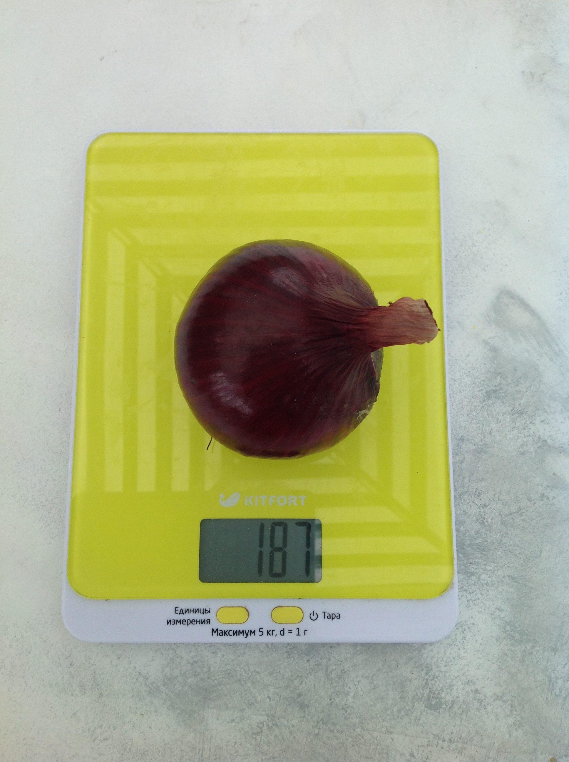 вес луковицы красной средней