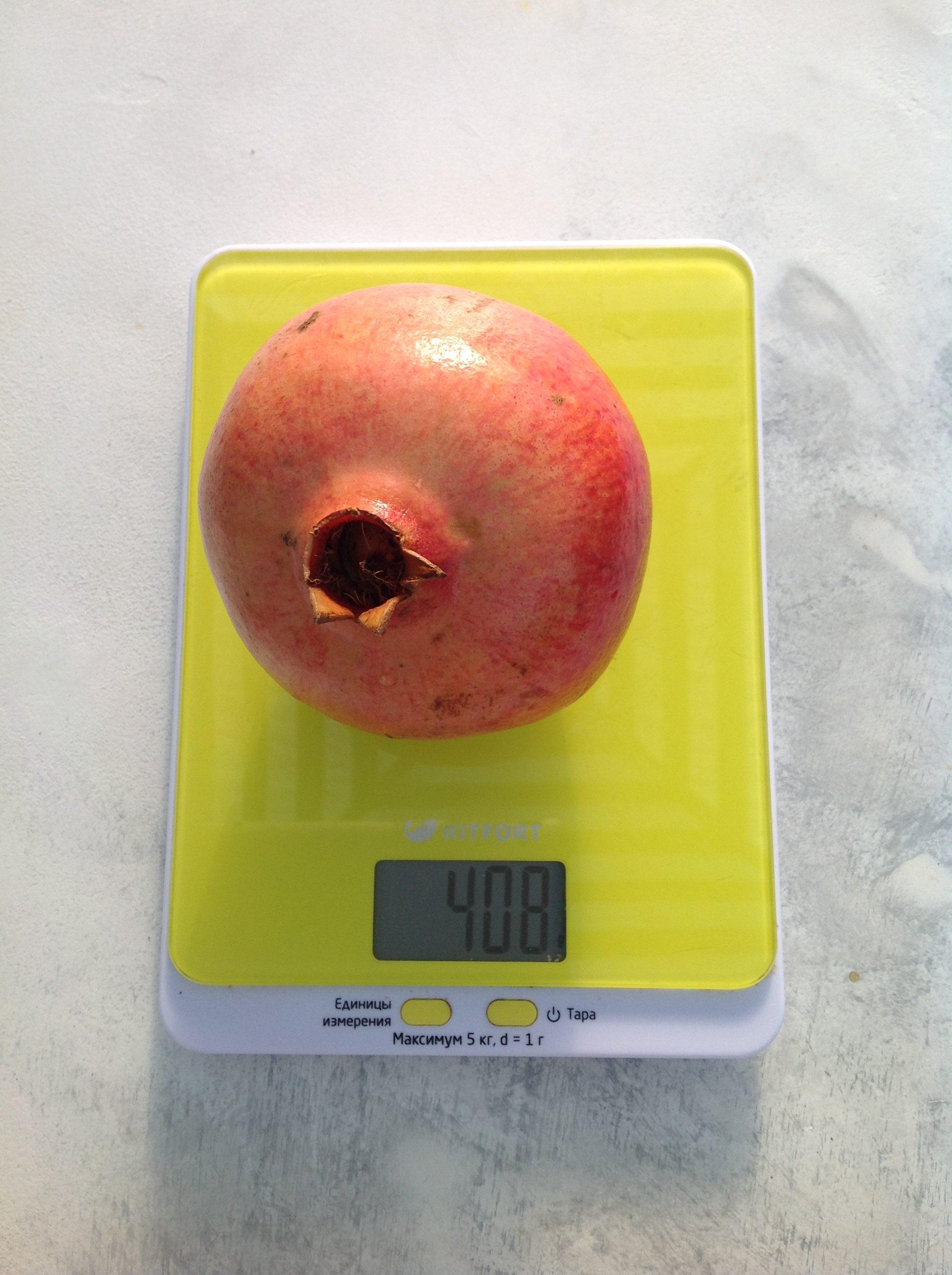 вес граната среднего