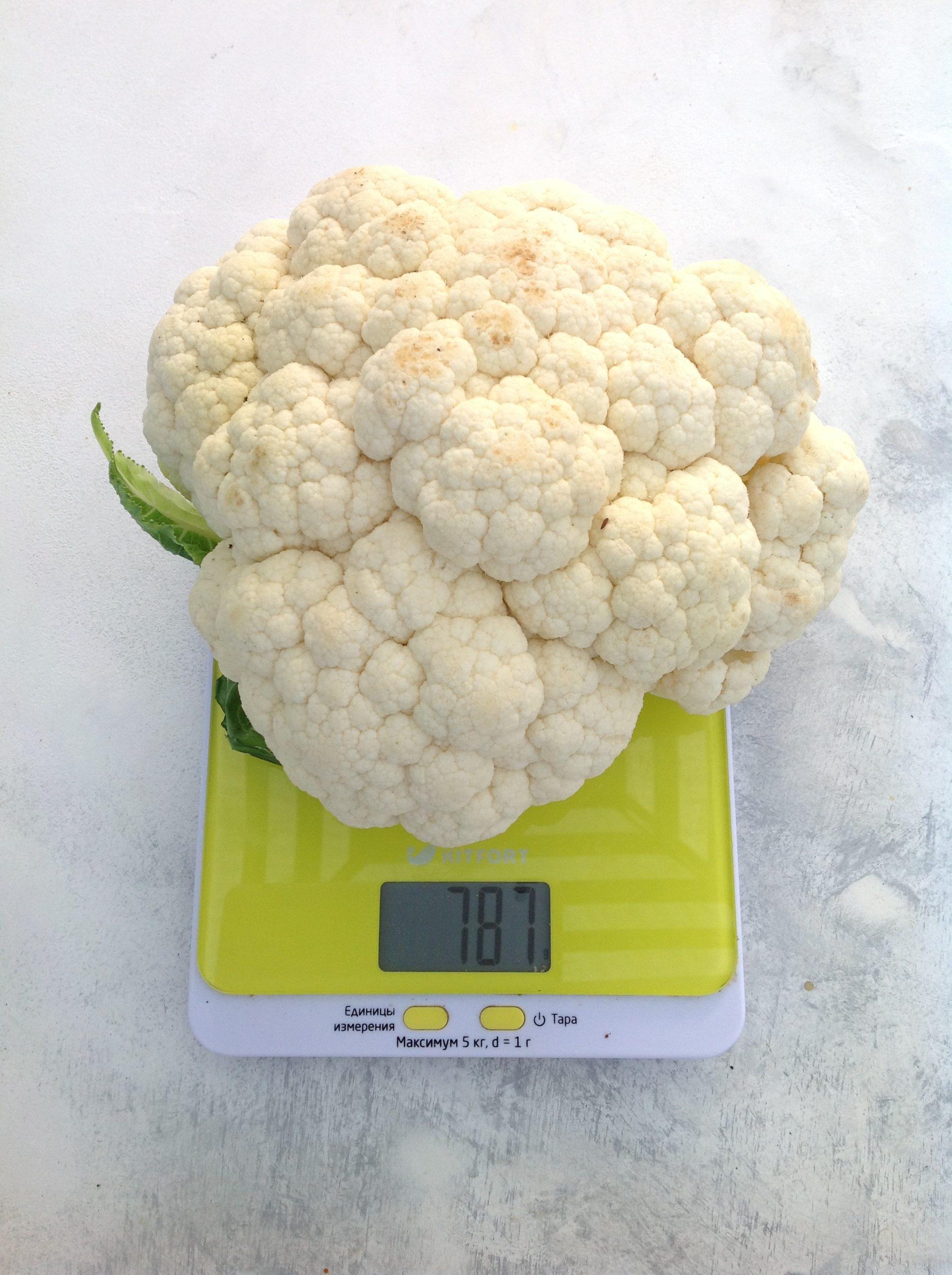 вес цветной капусты средней