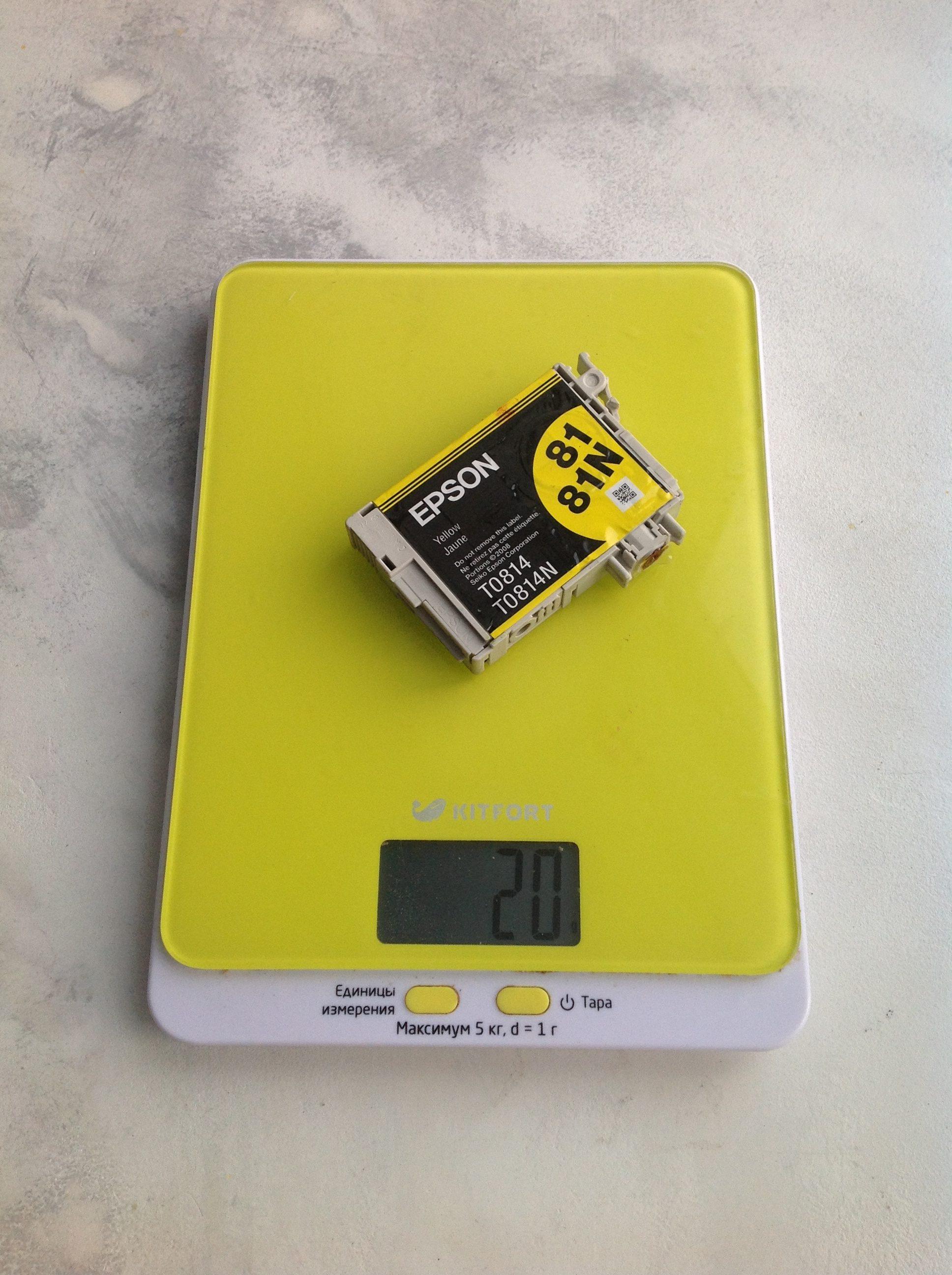 вес картриджа для шестицветного струйного принтера