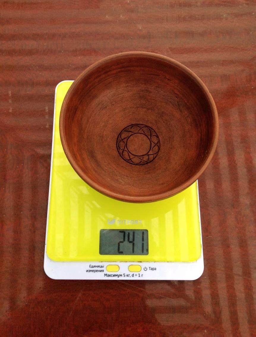 вес глиняной чашки