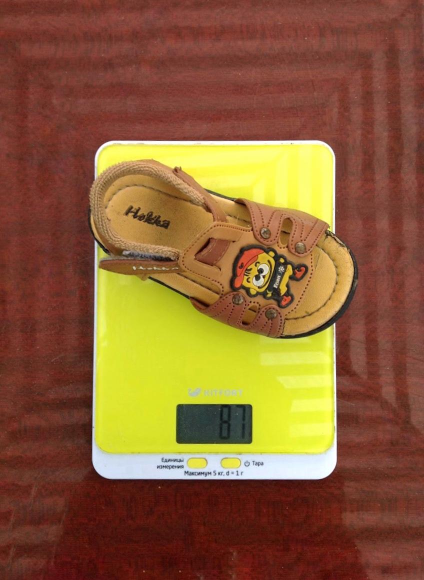 вес детского сандали 23 размера