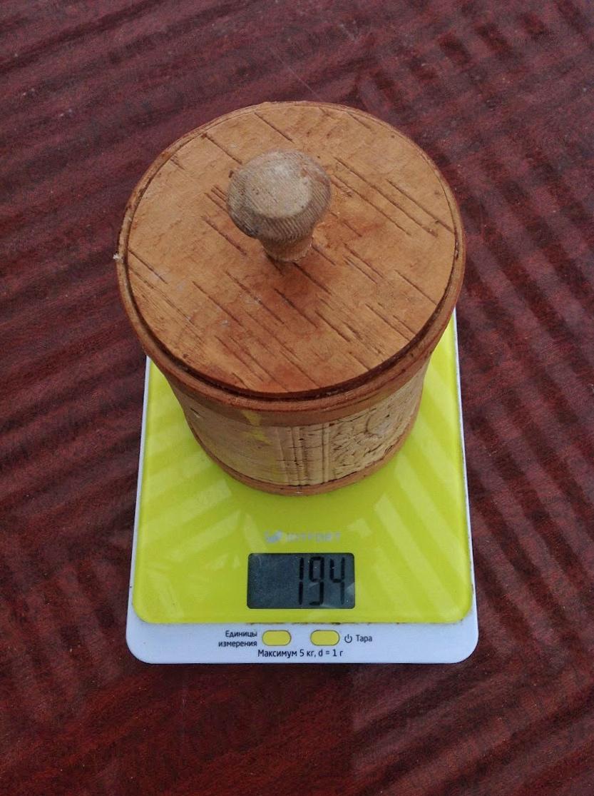 вес берестяной банки для меда