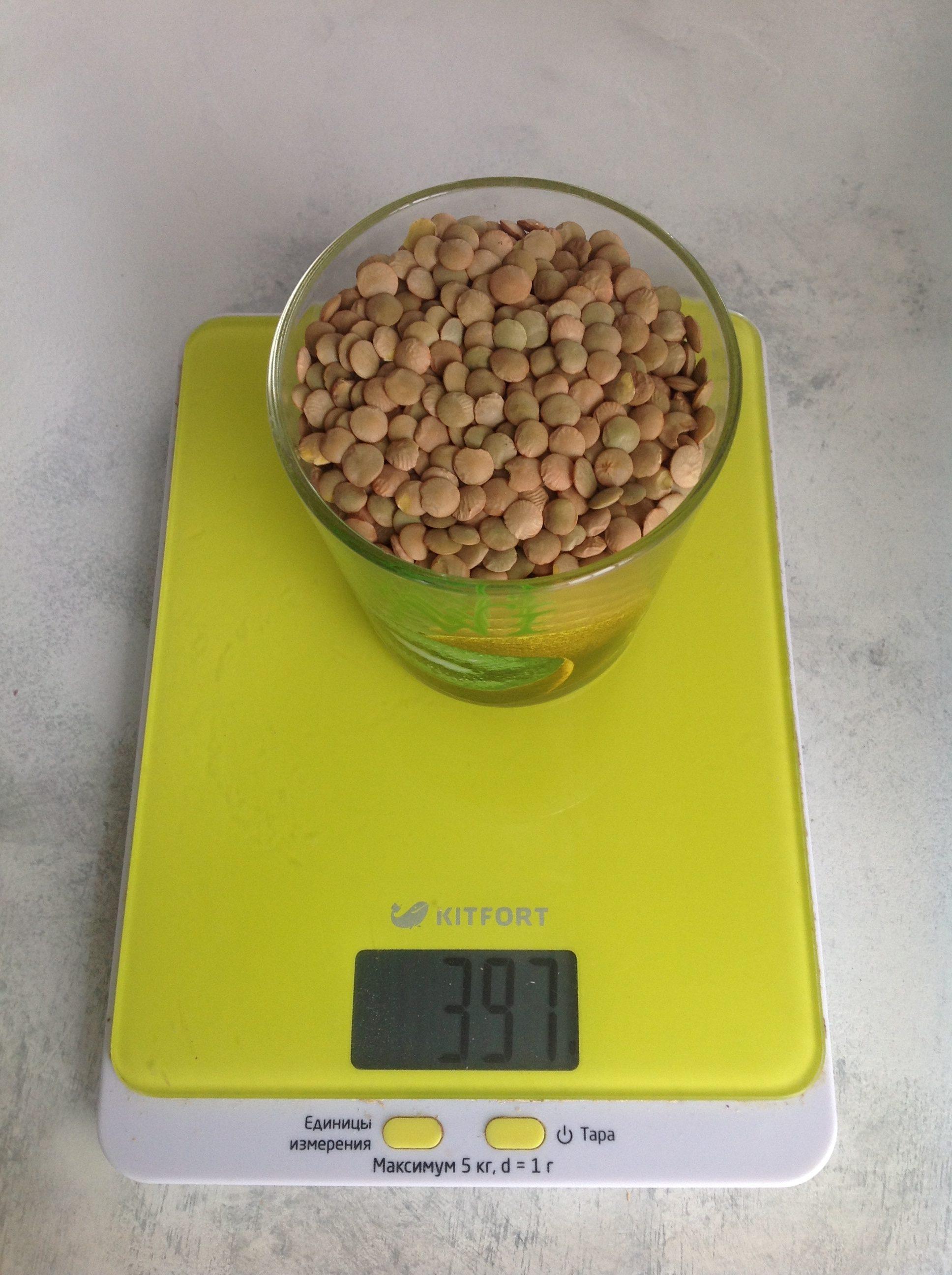 вес зеленой чечевицы сухой в стакане 250 мл