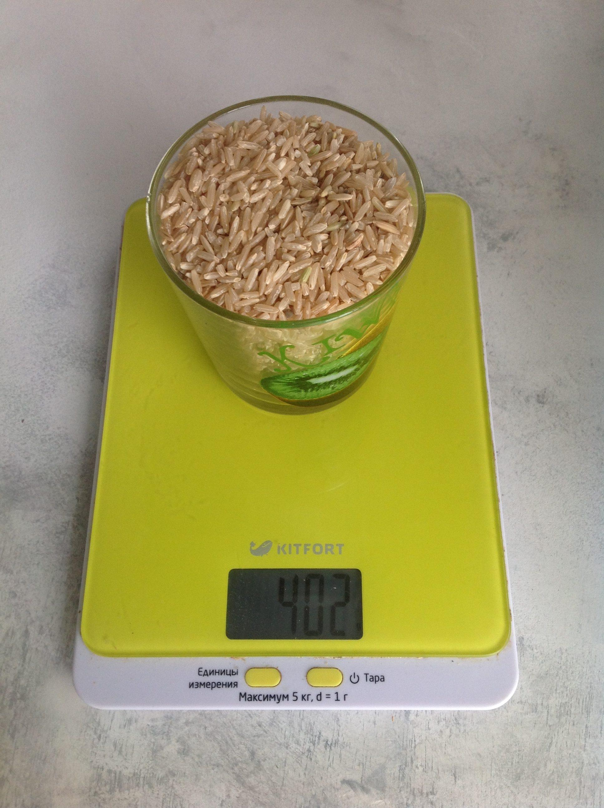 вес риса бурого сухого в стакане 250 мл