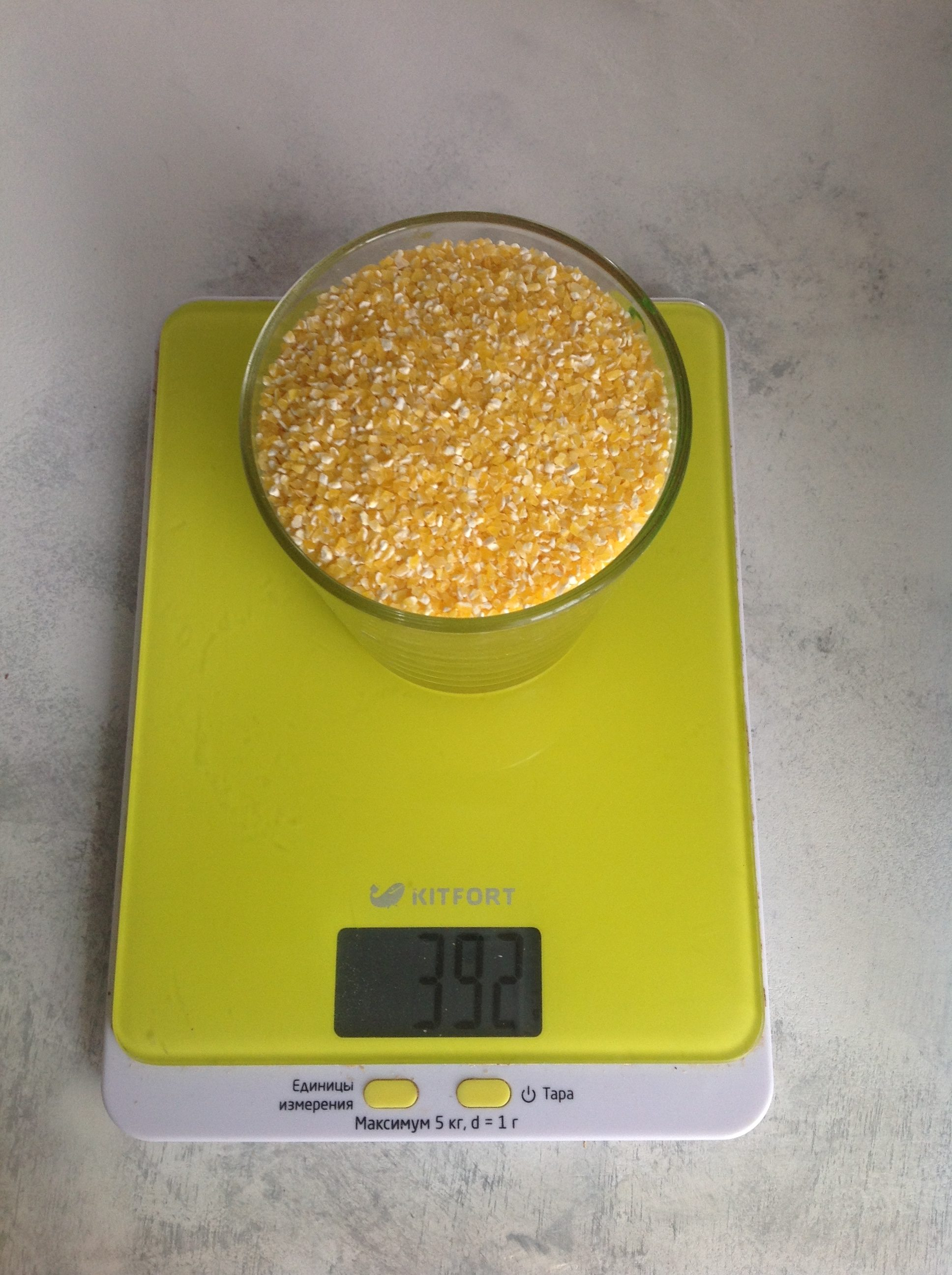 вес кукурузной крупы сухой в стакане 250 мл