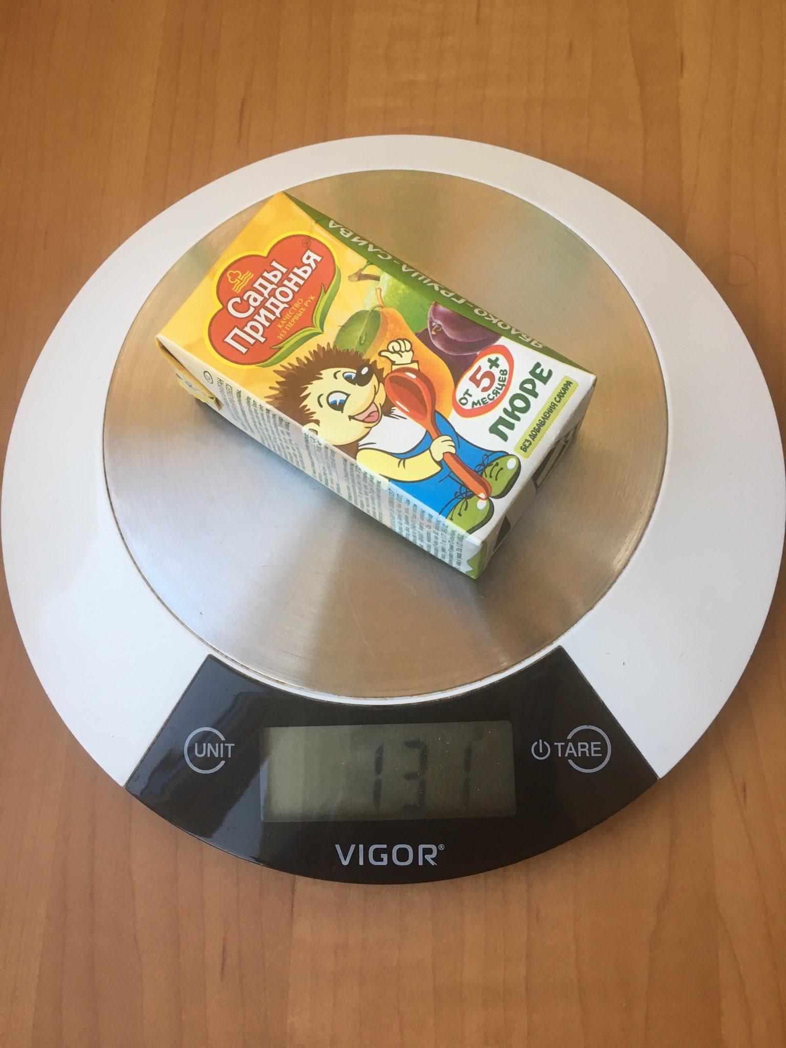 вес фруктового пюре детского