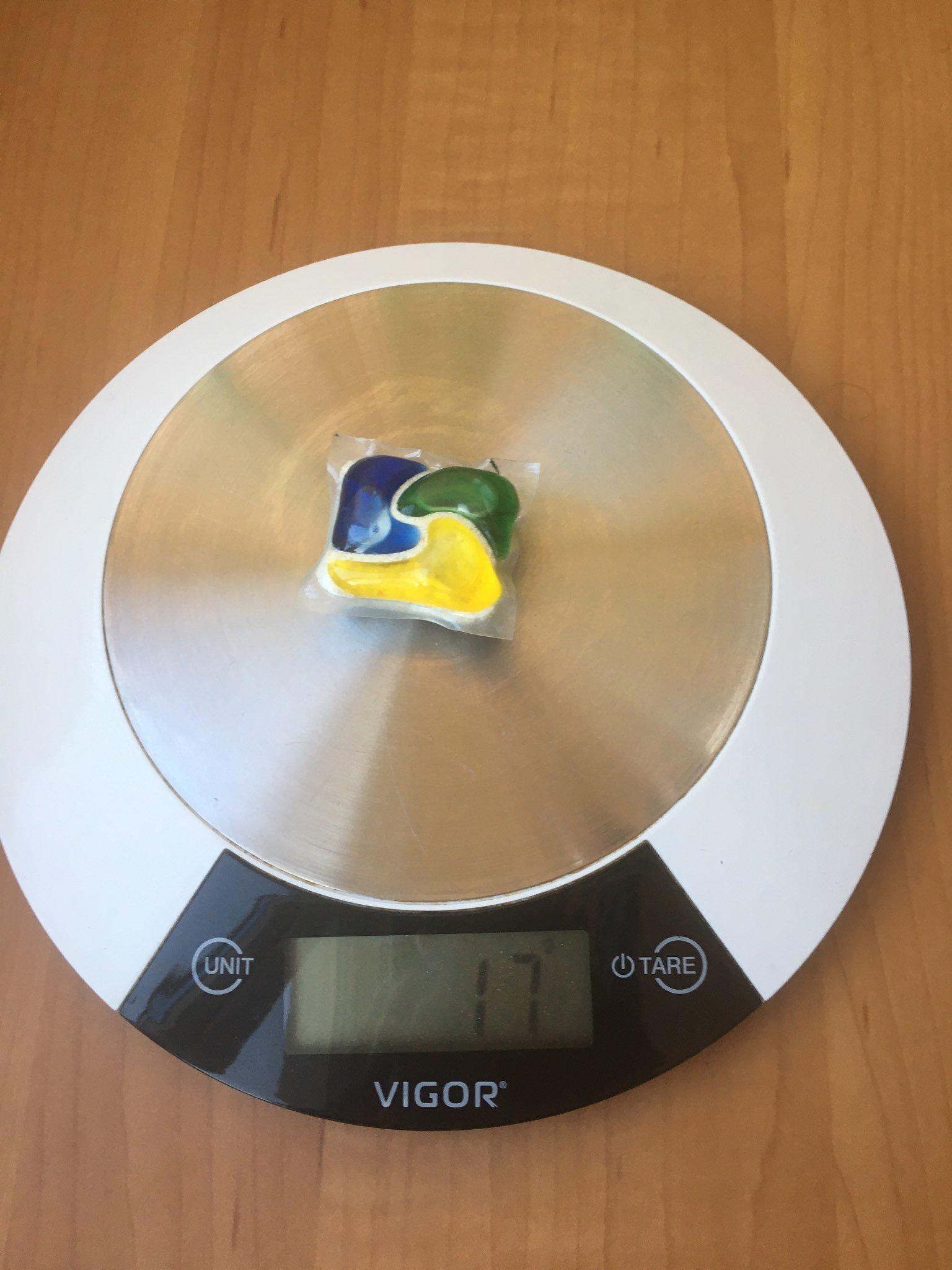 вес таблетки для посудомоечной машины