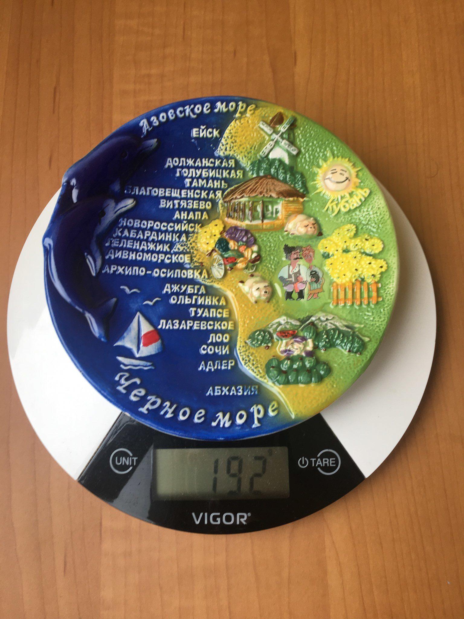вес сувенирной тарелки