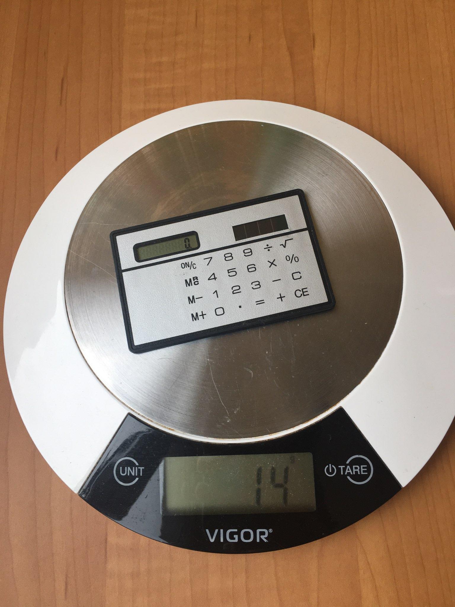 вес калькулятора плоского