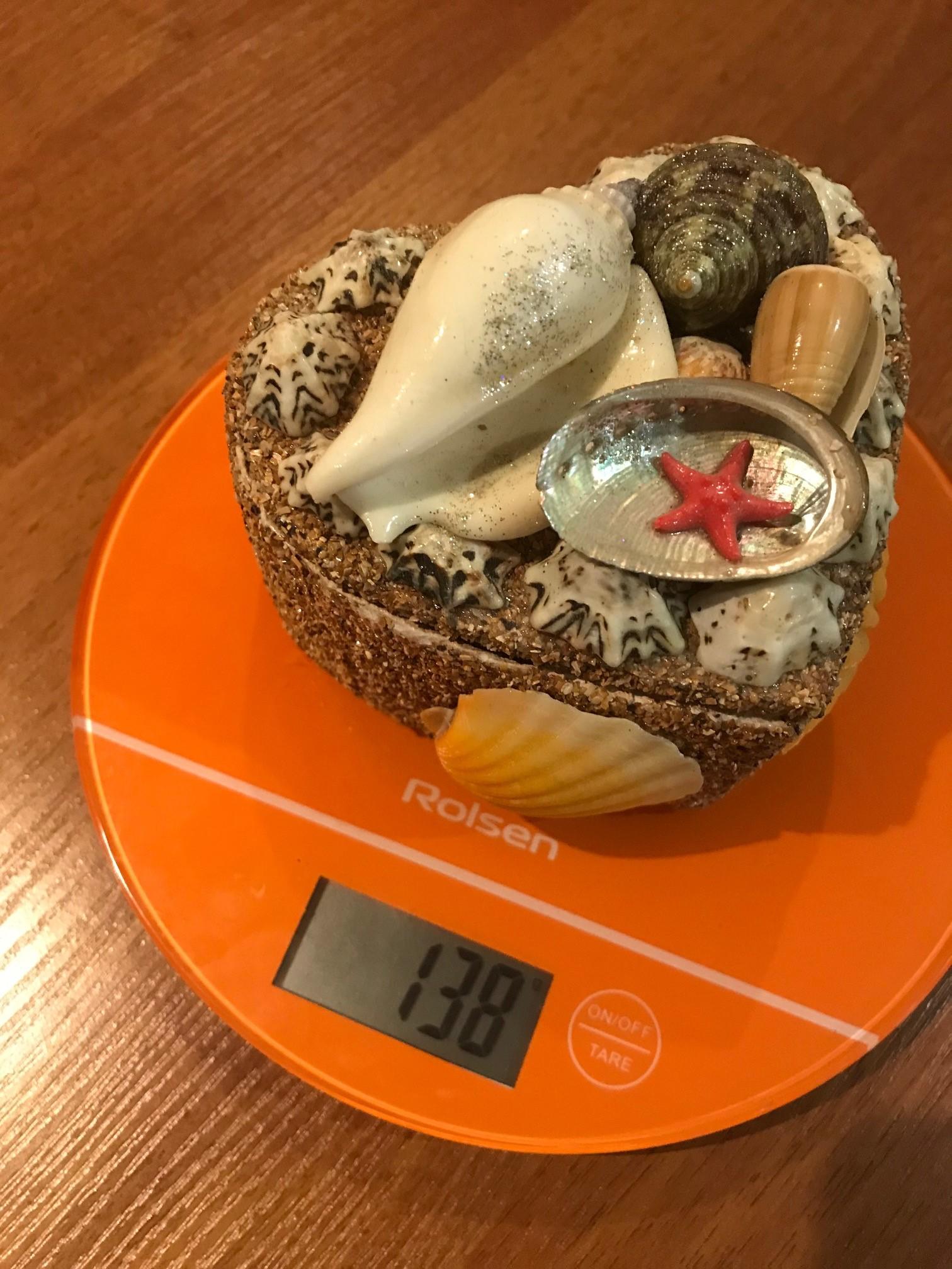 вес шкатулки сувенирной с ракушками