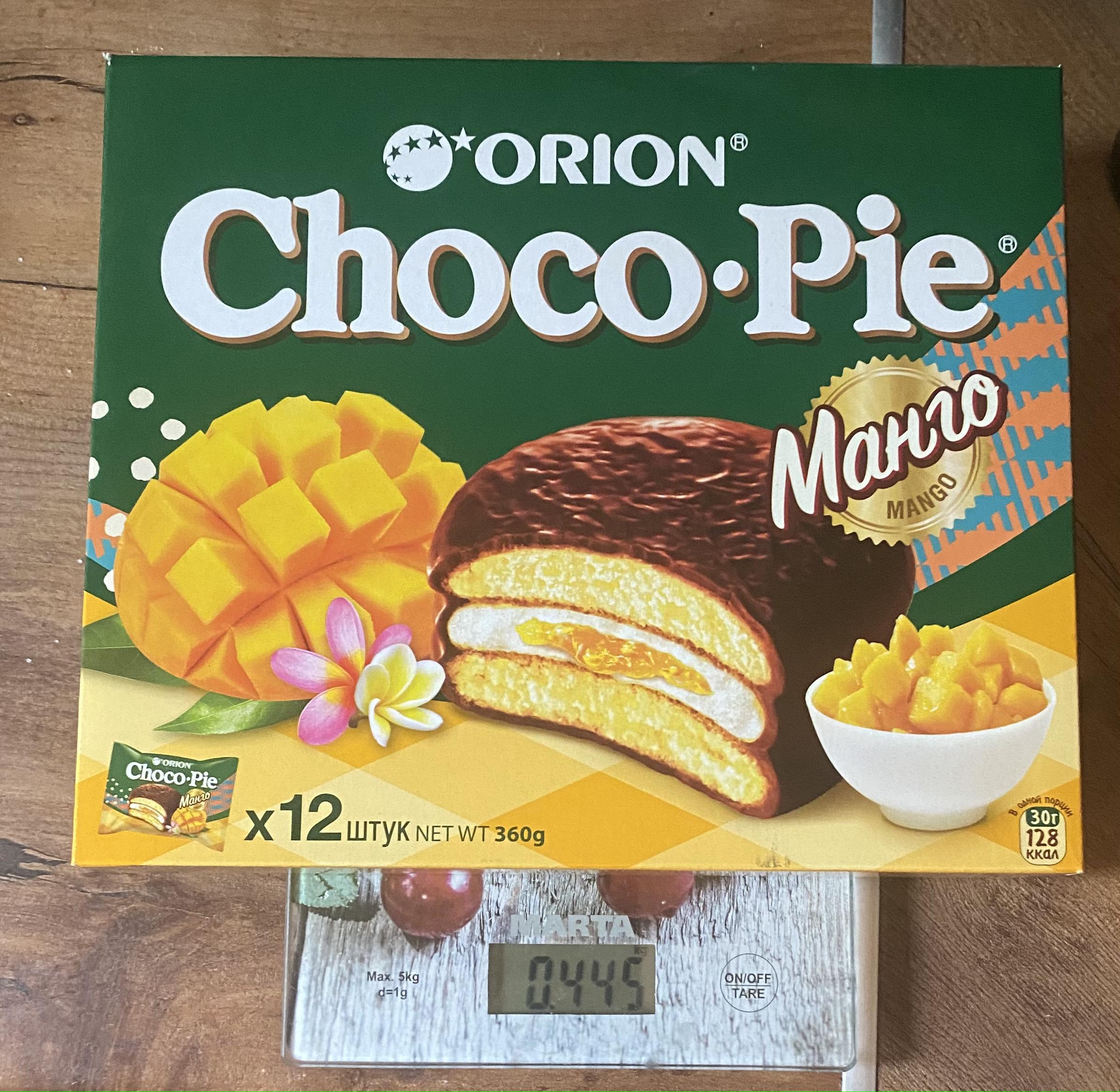 вес коробки пирожных Чоко пай с манго