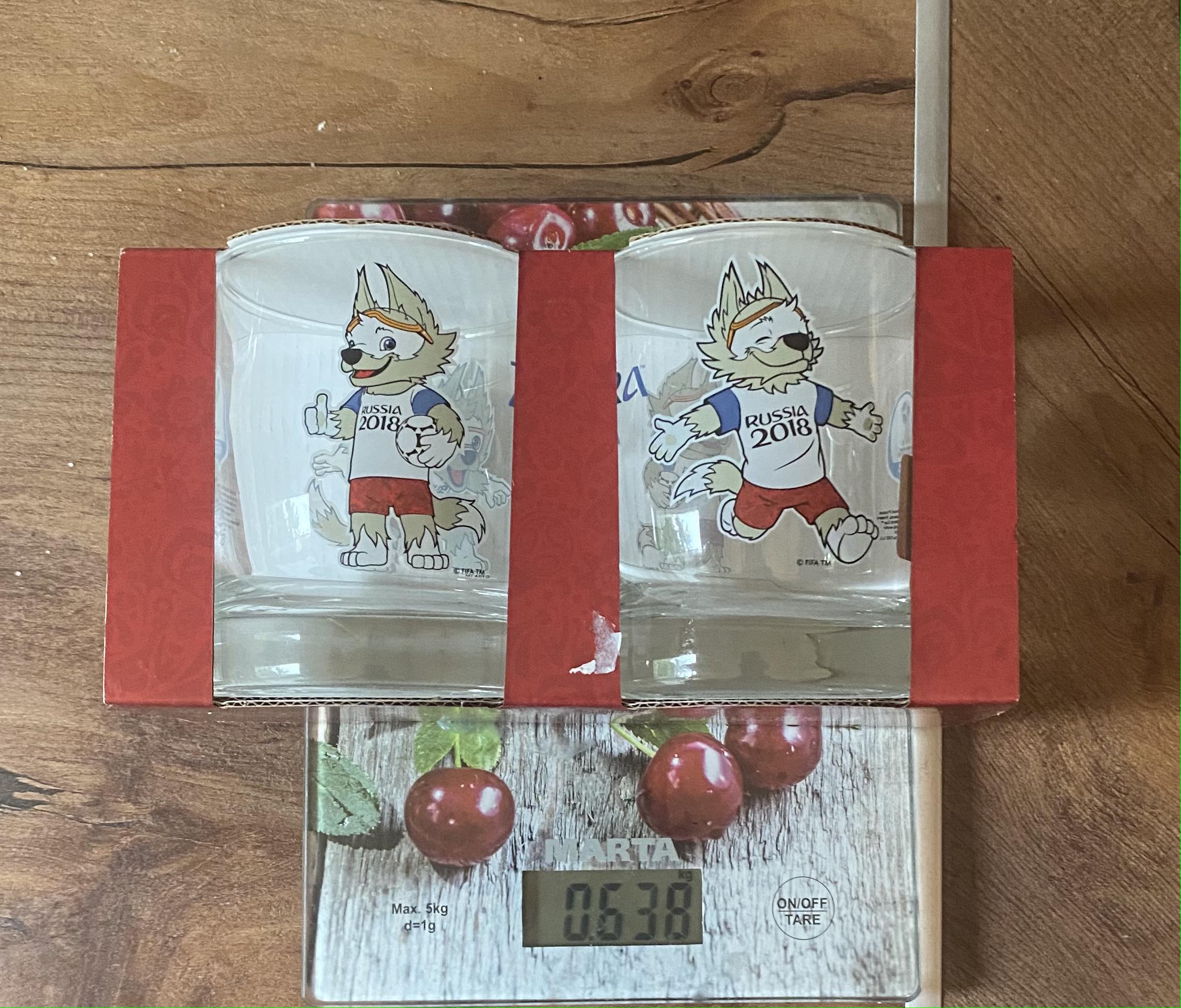 вес набора сувенирных стаканов ЧМ-2018